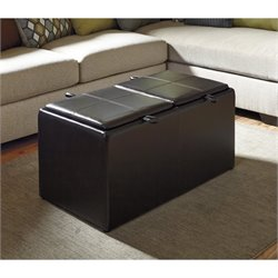 Ashley Casheral Faux Leather Ottoman with Storage in Brown