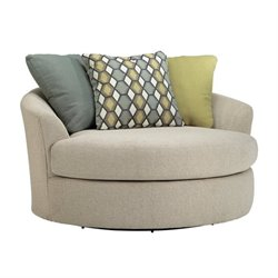 Ashley Casheral Fabric Oversized Swivel Accent Chair in Linen