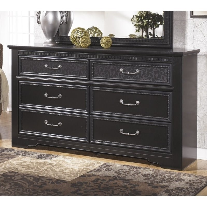 Ashley Cavallino 6 Drawer Wood Double Dresser in Black