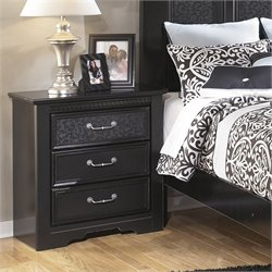 Ashley Cavallino 3 Drawer Wood Nightstand in Black