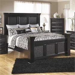 Cavallino Wood Mansion Panel Bed in Black