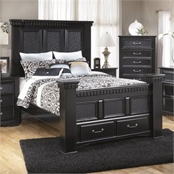 Cavallino Wood Mansion Drawer Bed in Black