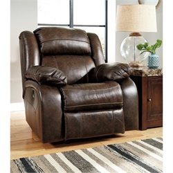 Branton Leather Rocker Recliner in Antique