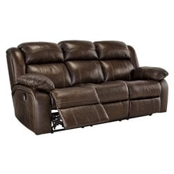 Branton Leather Reclining Sofa in Antique