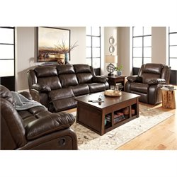Branton 3 Piece Leather Reclining Sofa Set in Antique