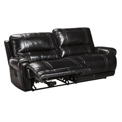 Paron Leather 2 Seat Reclining Sofa in Antique