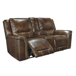 Jayron Leather Double Reclining Console Loveseat in Harness