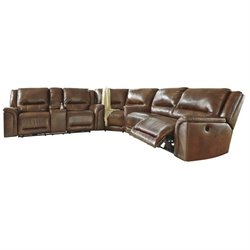 Jayron 3 Piece Leather Reclining Sectional in Harness