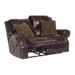 Walworth Leather Reclining Loveseat in Blackcherry