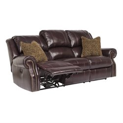 Walworth Leather Reclining Sofa in Blackcherry