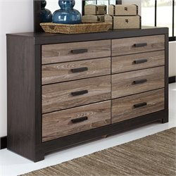 Ashley Harlinton 6 Drawer Wood Double Dresser in Brown