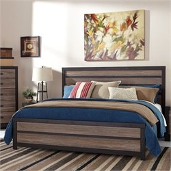 Harlinton Wood Panel Bed in Brown