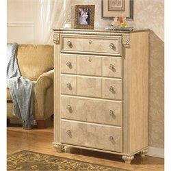 Ashley Saveaha 5 Drawer Wood Chest in Beige