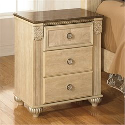 Saveaha Wood Nightstand in Beige