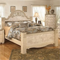 Saveaha Wood Poster Panel Bed in Beige