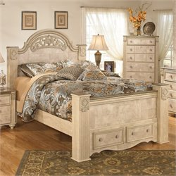 Saveaha Wood Panel Drawer Bed in Beige