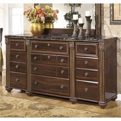 Ashley Gabriela 9 Drawer Wood Triple Dresser in Brown