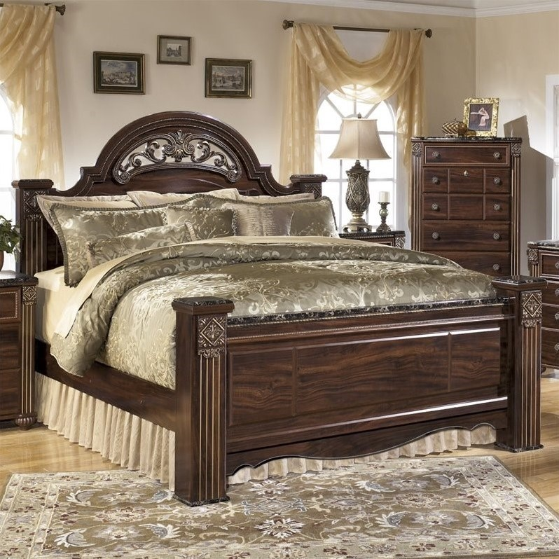 Ashley Gabriela Wood King Poster Panel Bed In Brown B347