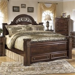 Gabriela Wood Panel Drawer Bed in Brown