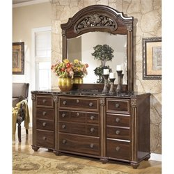 Ashley Gabriela 2 Piece Wood Dresser Set in Brown