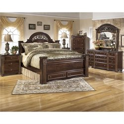 Gabriela 6 Piece Wood Drawer Bedroom Set in Brown