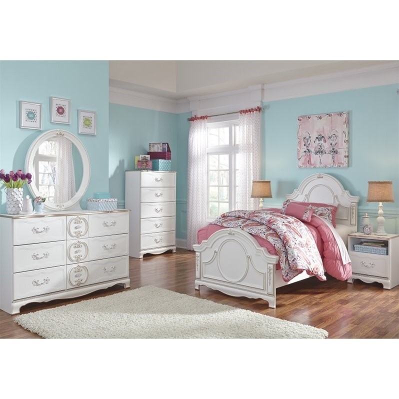Ashley Korabella 6 Piece Wood Twin Panel Bedroom Set In White B355 21 26 46 53 53 83 91 Pkg
