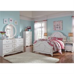 Korabella 6 Piece Wood Panel Bedroom Set in White
