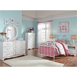 Korabella 6 Piece Metal Bedroom Set in White