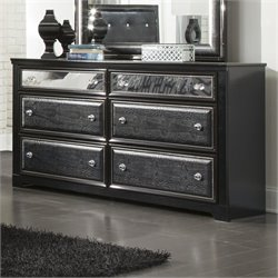 Ashley Alamadyre 6 Drawer Faux Leather Double Dresser in Black