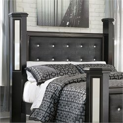 Alamadyre Faux Leather Poster Panel Headboard in Black