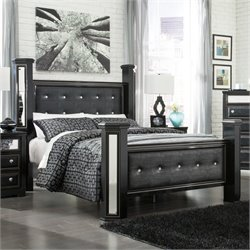 Alamadyre Faux Leather Poster Panel Bed in Black