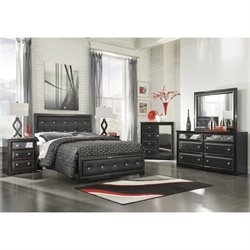 Alamadyre 6 Piece Faux Leather Queen Panel Bedroom Set