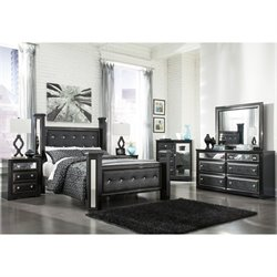 Alamadyre 6 Piece Faux Leather Poster Panel Bedroom Set (Door Chest)