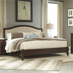 Corraya Upholstered Panel Bed in Brown