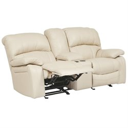Damacio Leather Glider Reclining Loveseat with Console in Cream
