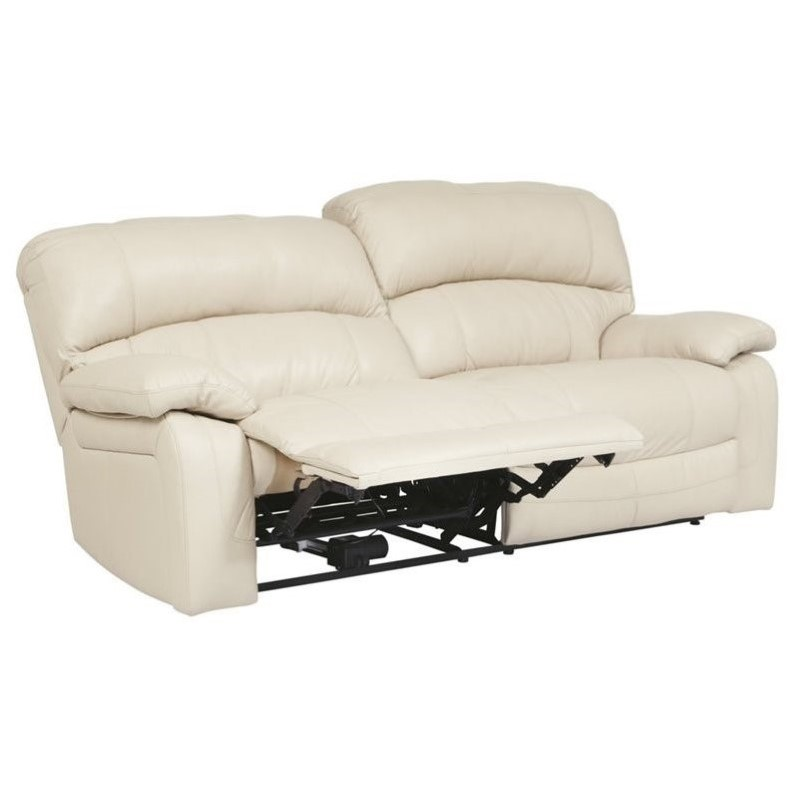 Ashley Damacio Leather 2 Seat Power Reclining Sofa In Cream U9820147