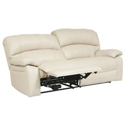 Damacio Leather 2 Seat Reclining Sofa in Cream