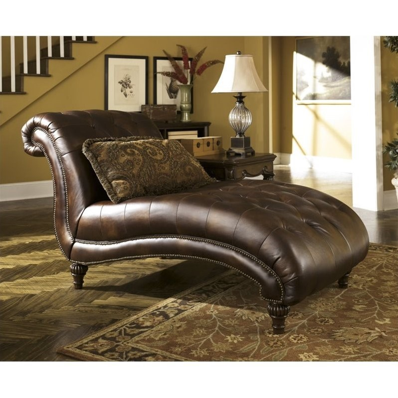 Ashley claremore faux leather chaise in antique 8430315 for Antique leather chaise