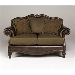 Ashley Claremore Faux Leather Loveseat in Antique