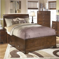 Alea Wood Sleigh Drawer Bed in Brown
