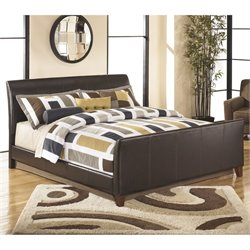 Stanwick Leather Upholstered Bed in Brown