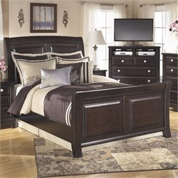Ridgley Wood Sleigh Panel Bed in Dark Brown
