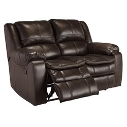 Long Knight Faux Leather Reclining Loveseat in Brown