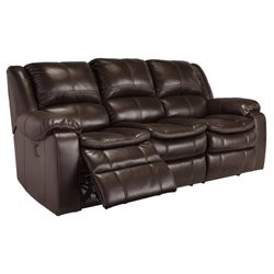 Long Knight Faux Leather Reclining Sofa in Brown