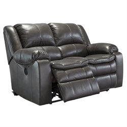 Long Knight Faux Leather Reclining Loveseat in Gray