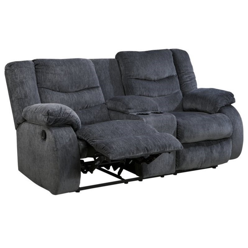 Ashley Garek Fabric Double Reclining Console Loveseat In Blue 9200194