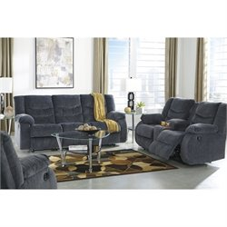 Garek 3 Piece Fabric Reclining Sofa Set in Blue