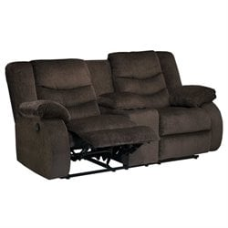Garek Fabric Double Reclining Console Loveseat in Cocoa