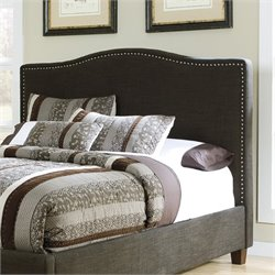 Kasidon Fabric Upholstered Nailhead Headboard in Brown