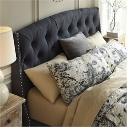 Kasidon Fabric Upholstered Tufted Headboard in Gray